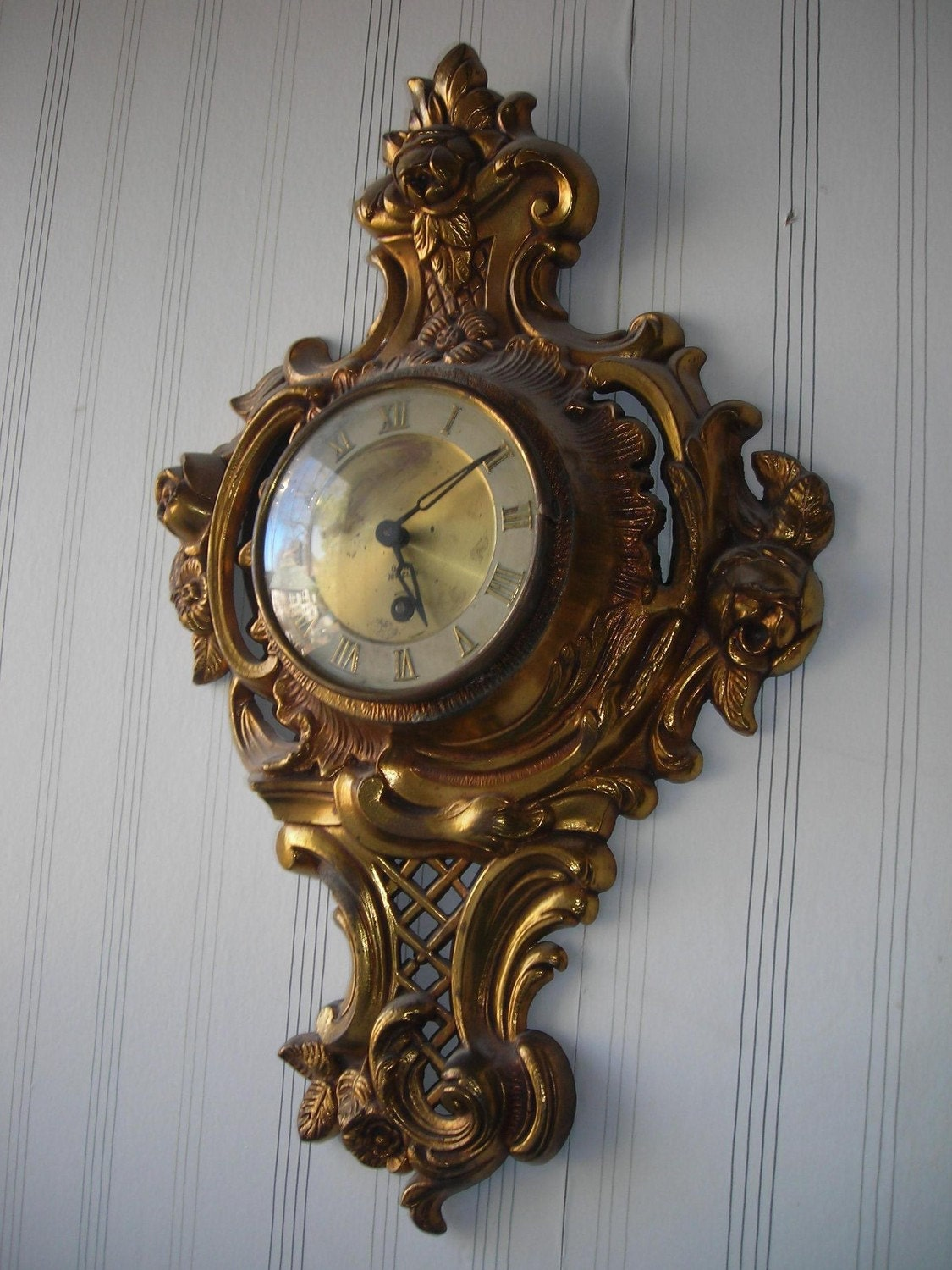 Antique Vintage French Clock Brass Ornate Wall Clock Wind Up