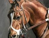 Bright Chestnut Racehorse Print 9 x 9