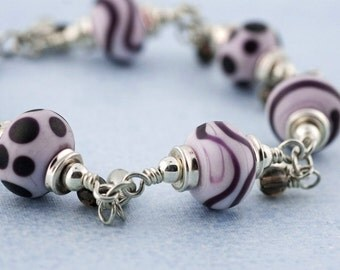 Handmade Art Glass Bracelet - Pink - Purple - Sterling SIlver - Cha Cha - Dangles - Fun and Funky - Unique