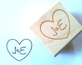 "Custom Heart Stamp. Custom Stamp w/ Heart & Initials for DIY Wedding Decor. 1""x1"""