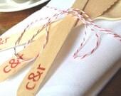 Custom Wedding Utensils. Eco Friendly Wedding Decor Table Decoration with Custom Stamp. Set of 10.