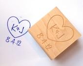 "Custom Heart Stamp. Custom Initials and Date. DIY Wedding Decor  1.5"""