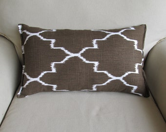Rectangular Bolster Pillow in coffee brown and white 12x22