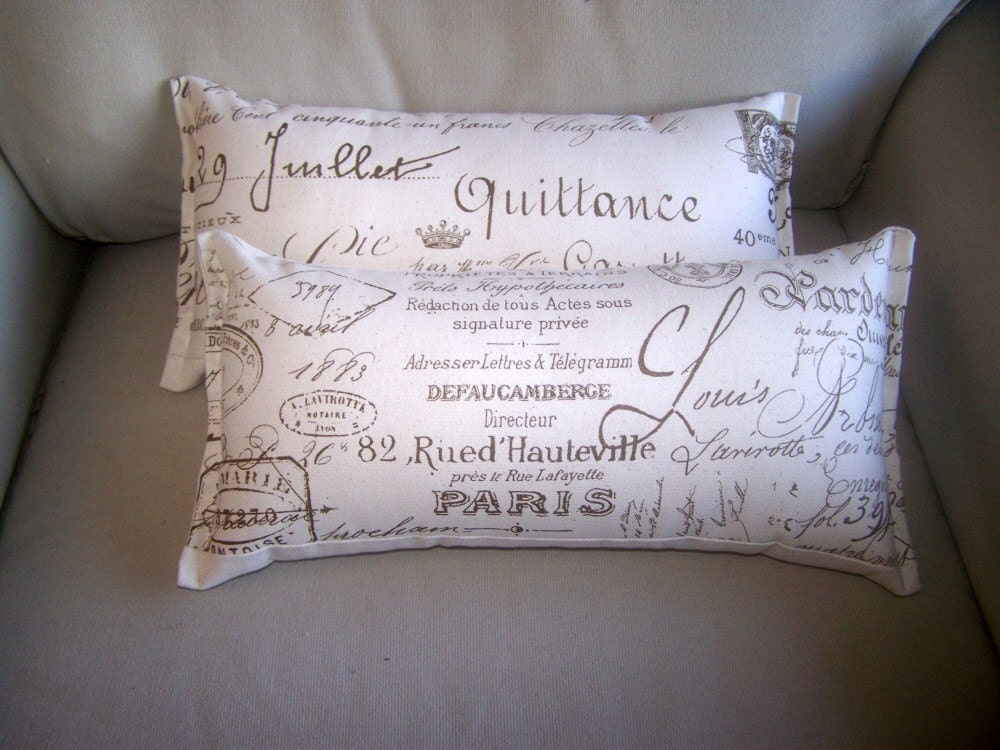 Throw Pillows With French Script : 10x18 french script accent pillows