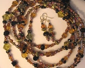 SPECIAL: Browns, Amber, Tortoise, and Black Glass Faceted Long Necklace and (FREE) Earrings