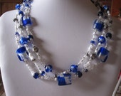 FREE EARRINGS: Royal Blue and Shimmering Silver Glass Necklace and Earrings Set