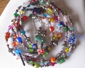 FREE EARRINGS: Rainbow Colored Millefiore Glass on Purple Necklace and Earrings Set