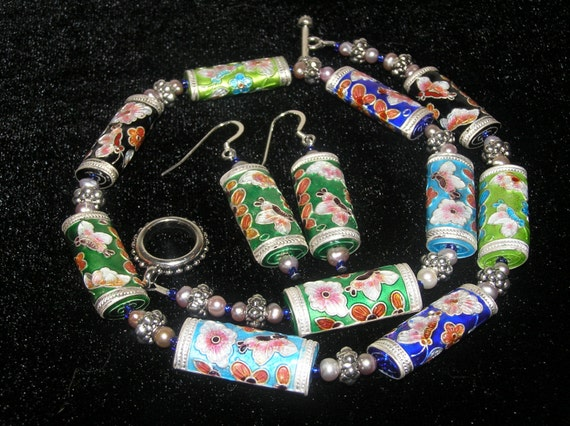 SPECIAL: Flower and Butterfly Cloisonne, Pearl, and Glass Necklace and (FREE) Earring Set