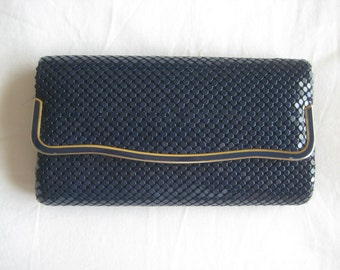 Sparkle mesh vintage party clutch with glam gold accents 60s 70s 80s