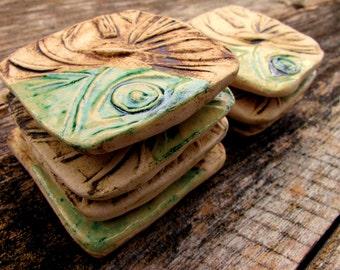Handmade Ceramic Tiles in Rustic Sepia and Glossy Green