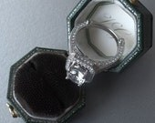 Art Deco Style Diamond and White Sapphire 14k White Gold Engagement or Wedding Ring