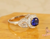 Heirloom petals ring - Blue Sapphire and white diamond pave engagement or wedding ring in 14k white gold