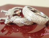 The Whirlwind Wedding Set - Diamond pave engagement ring setting and matching wedding band14k white gold ring