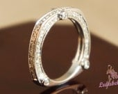The Alencon Lace Sparkler wedding ring-  Pave diamond with milgrain edges and bezel set feature stones14k White Gold