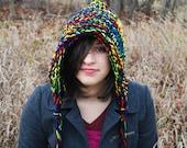 Elf Hood Hat Knitted in Black for Men or Women