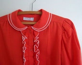 Vintage Red Blouse with Tuxedo Ruffles