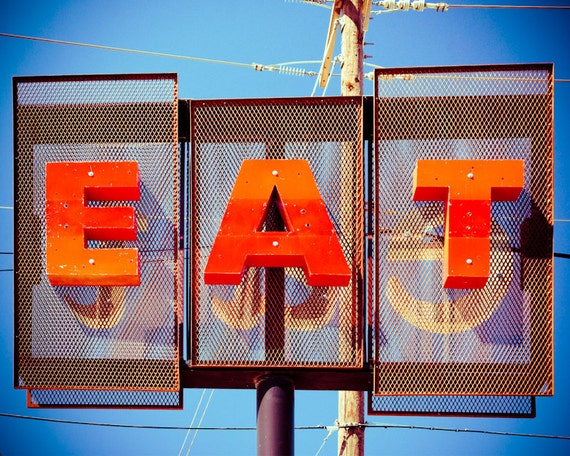 Fine art photography eat sign restaurant retro diner
