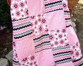 CLEARANCE - Patchwork Pink and Gray Baby Quilt