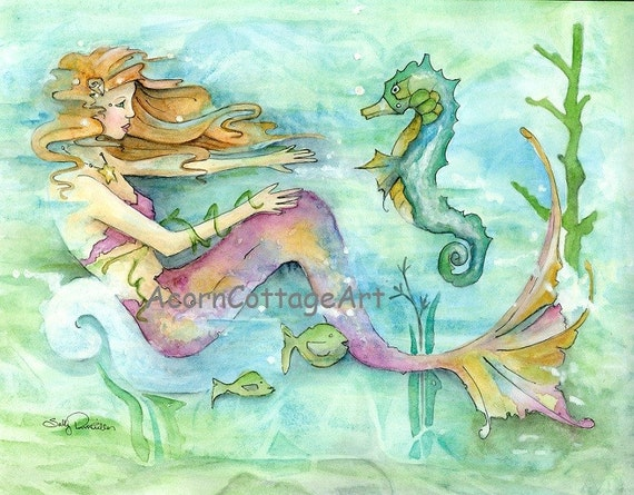 "Mermaid Art...""Naida""8x10 print....a  typical day in the life of a mermaid"