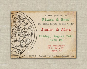 pizza party, pizza and beer, wedding rehearsal dinner, digital file