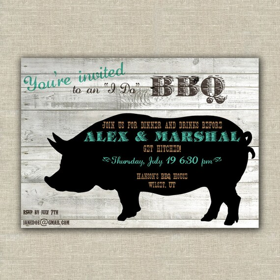 BBQ invitations, wedding rehearsal dinner, engagement party, birthday, rustic, barn wood, pig