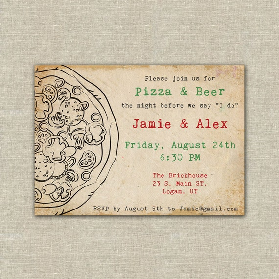 Items similar to pizza party pizza and beer wedding for Etsy engagement party invites