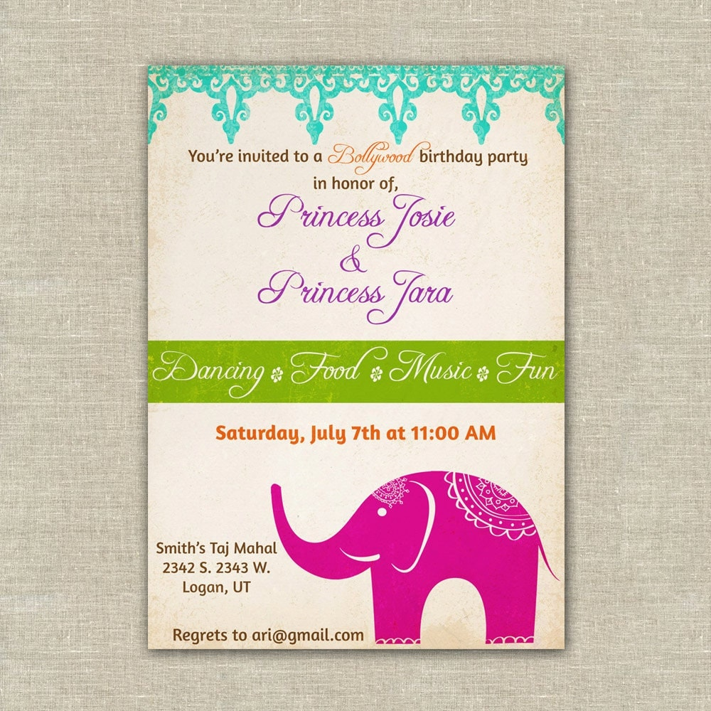 Bollywood themed birthday party invitations girls Indian – Bollywood Birthday Card