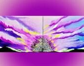"LARGE ORIGINAL PAINTING Peacock Silhouette Surreal Art 16"" x 40"" Canvas Amber Elizabeth Graff Purple Sky Peacocks Clouds Sunset Acrylic Pink"