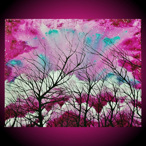 ORIGINAL Surreal Art 16 x 20 Acrylic on Canvas Painting Amber Elizabeth Graff Purple Plum Magenta Pink Teal Sky Stars Trees Clouds Forest