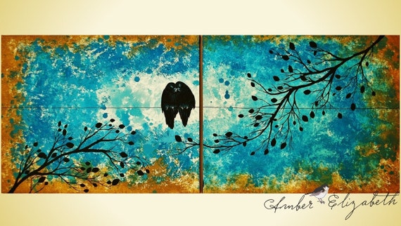 I Love You (Rain or Shine) Large Original Painting 16 x 40 Acrylic on Canvas Surreal Art Amber Elizabeth Graff Love Birds On Wire Turquoise