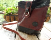 Black and maroon leather purse