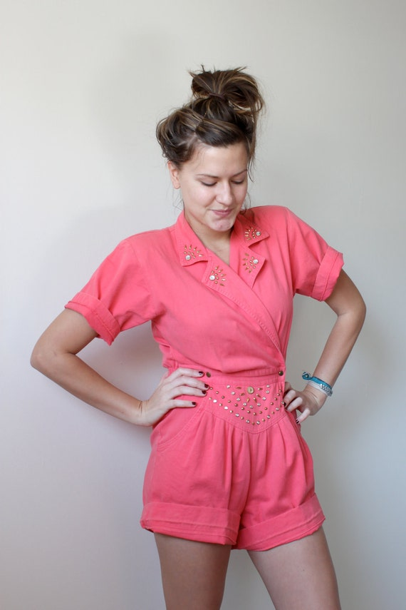 SALE. Coral Pink Beaded Playsuit
