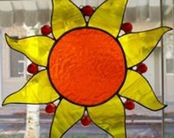 Sun Fire Stained Glass Sun Catcher