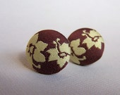 FREE USA SHIPPING Fabric Earrings Brown and Yellow Flowers