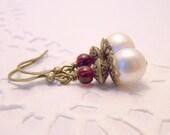 Pearls, Garnets and Brass Earrings