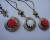 Three Ornated FLORAL Vintage Locket Necklace with Flower, Gift for Her