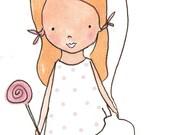 Childrens Art Print - Sugar and Spice 8 x 10