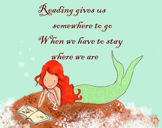Mermaid Children's Wall Art -- Reading Quotes - Print