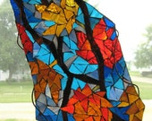 Autumn leaves stained glass mosaic window hanging