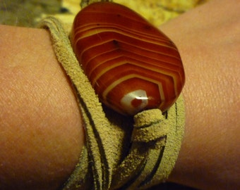 Striped Suede Wrap Bracelet