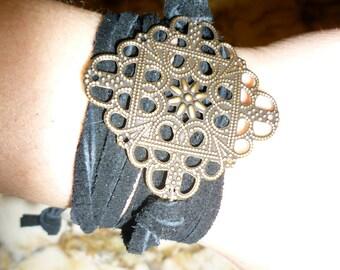 Filigree Suede Wrap Bracelet