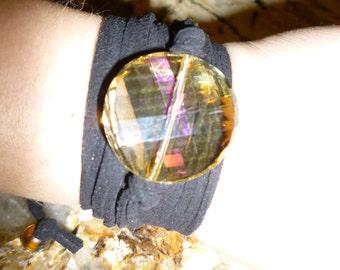 Crystal Gem Suede Wrap Bracelet