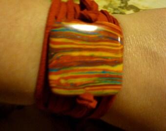 Psychodelic Suede Wrap Bracelet
