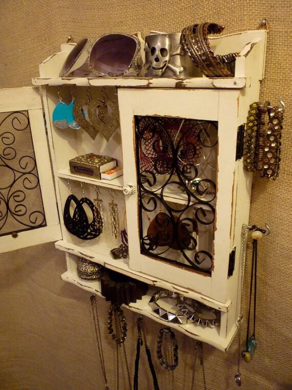 Upcycled Jewelry Organizing Display (White Cabinet)