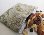 Homemade Reusable Snack Bag - Brown Paisley