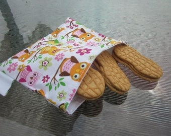 Reusable Snack Bag - Owls on a Branch