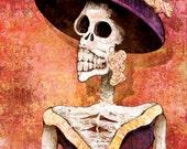 Dia de los Muertos Funeral Calavera - 12x18 High Quality Art Print