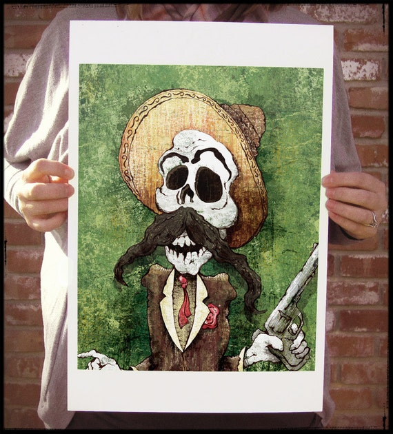 DIA de los MUERTOS BANDITO - 12x18 Officially Signed, Dated and Hand-Stamped Art Print