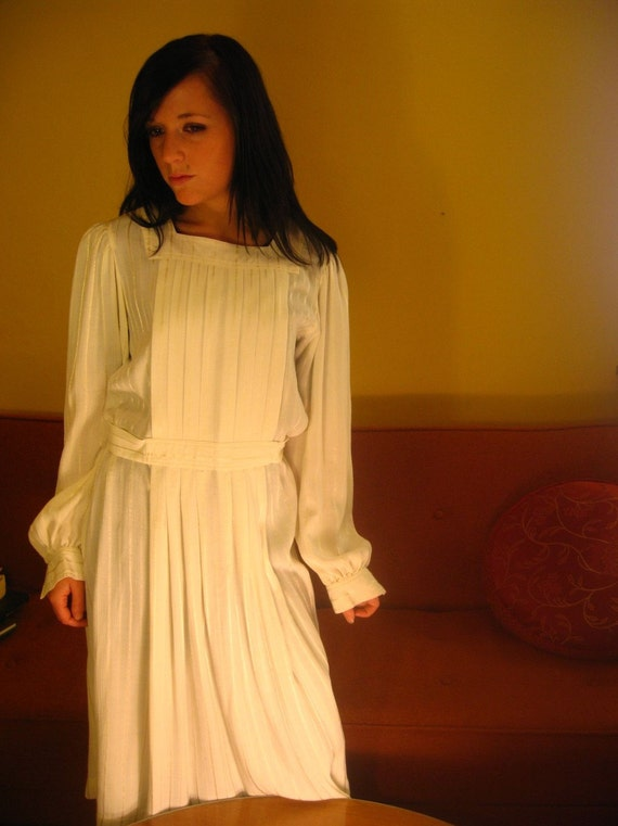 RESERVED for Sandra -Handmade Vintage Wedding Dress with pleated bodice-RESERVED for Sandra
