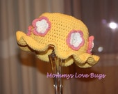Flowers All Around Crochet Sun Hat in Yellow with Pink and White Flowers